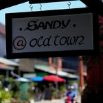 sandy at oldtown sign