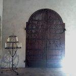 A beautiful door and candelabra