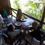 My 3 kids enjoying breakfast on the patio