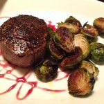 An AMAZING filet, with the most delicious roasted Brussel Sprouts!