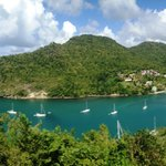 panoramic views of marigot bay from the deck