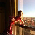 Granddaughter, Sylvia, loved the view from the 16th floor.