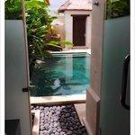 Walkway to outdoor Rain Shower & Pool