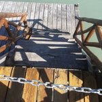 chained off stairs to lower pontoon