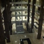 looking down in the hotel