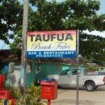 Sign from the main road at Lalomanu