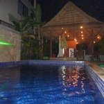 Pool and bar at night