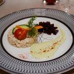 L'entrée  du repas gastronomique composée de crabe