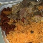 Roast pork, red beans and rice. Awesomeness in Styrofoam!