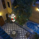 Evening view of the courtyard from our room