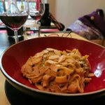 Fettucini with almonds and pistachios