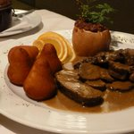 Roast Deer with potatoes and baked apple...yum!