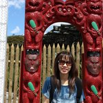 My wife at the entrance gate of Te Puia