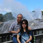 With my wife enjoying the fantastic Pohutu Geyser