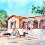 Watercolor rendering of the art center by Roberta Rogers
