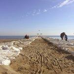 Волнорез на пляже Лидо
