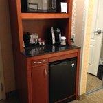 Microwave, coffeemaker, and mini-fridge
