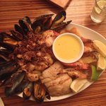 Plate of seafood for sharing