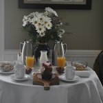 Nutritios and delicious continental breakfast brought to our suite- Santa Cruz