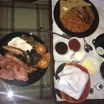 Breakfast (My partners full English and my fussy selected sausage, beans and toast)