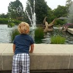 My son at the entrance fountains
