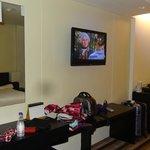 TV and desk area, mini fridge
