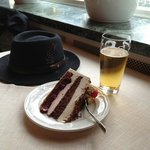 Black Forest Cake & Beer in cafe
