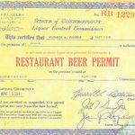 Original 1947 Liquor License