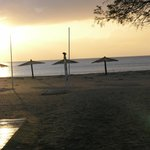 sunset to the sandy beach