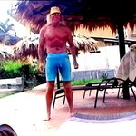 Me standing by the pool at Mayol Lodge