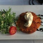 Crab cakes. The greens on the side went well with the crab cakes too