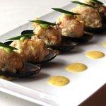 Tempura Fried Mussel with Wasabi Hollandaise