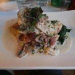 Chicken & Prosciutto Scallopini Chicken Breast Escalopes sautéed with Onion, Mushroom, Garlic,