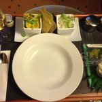Room service tray... Whole tail scampi and this curry was fab