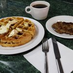 Belgian waffle with meat and drink special $4.50 on Waffle Wednesdays.