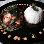Red snapper filet with spicy sauce & deep fried basil