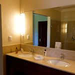 Clean, new, spacious and equipped bathroom.