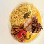 Seelachs mit Gemüse Chinois und Reis