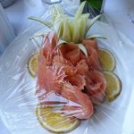 wonderful smoked salmon for breakfast on our balcony