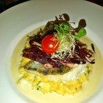 Baltic fish on pumpkim risotto