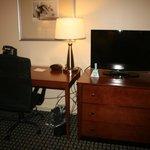 TV, draws and desk area