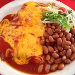 Chicken Enchiladas with Red Chile and Pinto Beans (Lunch Menu)