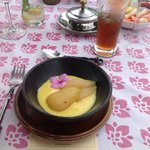 Poached Pear with White Wine and Safrani Pastry Cream