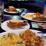 He had steak and eggs.  I had the biggest omelet I've ever seen!  Both were excellent.