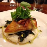 Haddock over spinach & polenta