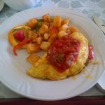 Must try Southwest Omlette with Tangy Beef & Salsa