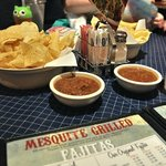 The chips are crispy and not greasy; salsa has a smoky chipotle taste.