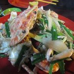 Fresh crab fried with ginger and spring onion
