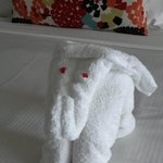"""Towel elephant"" on my bed."