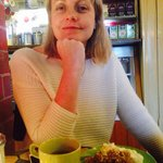 Lovely little two story cafe serving savory crepes and a vegetarian chili.   Taking a break on o